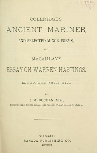 Download Coleridge's Ancient mariner and selected minor poems, and Macaulay's Essay on Warren Hastings