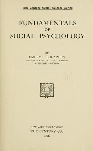 Fundamentals of social psychology.