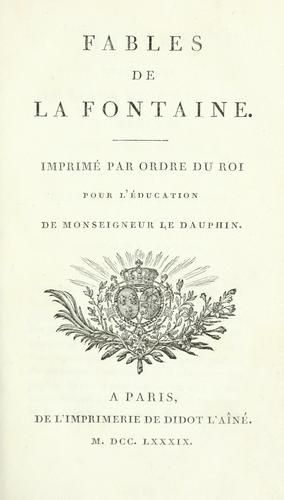 Fables de La Fontaine by Jean de La Fontaine