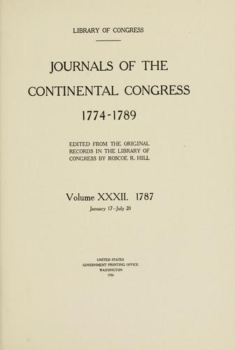 Journals of the Continental Congress, 1774-1789.
