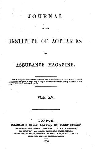 Journal of the Institute of Actuaries and Assurance Magazine