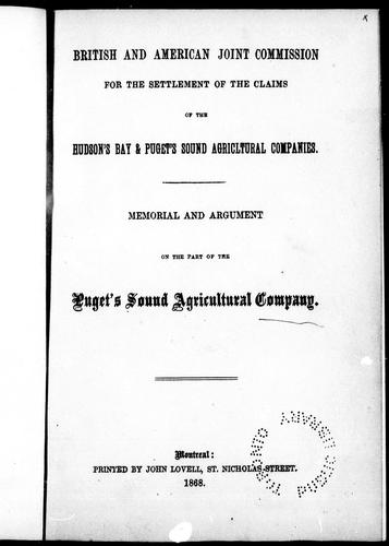 Download Memorial and argument on the part of the Hudson's Bay Company