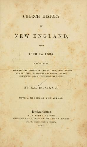 Church history of New England, from 1620 to 1804