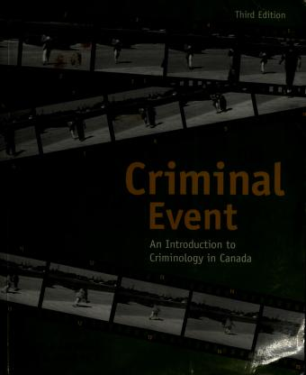 Cover of: The criminal event | Vincent F. Sacco