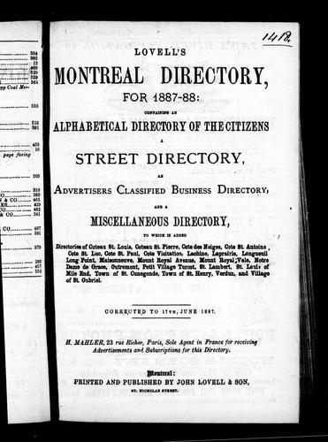 Lovell's Montreal directory for 1887-88 by