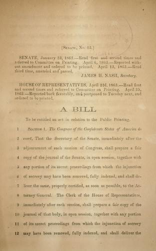 A bill to be entitled An act in relation to the public printing by Confederate States of America. Congress. Senate