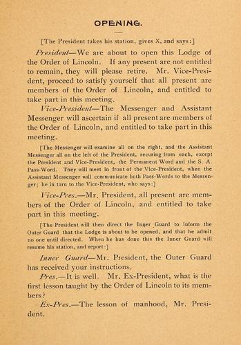 Provisional ritual by Order of Lincoln