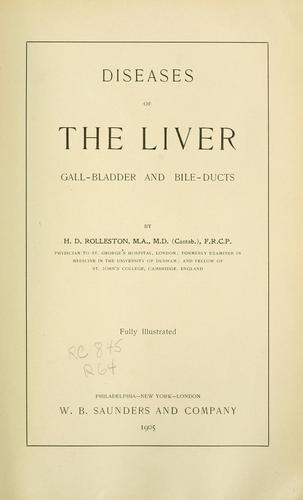 Diseases of the liver by Rolleston, Humphry Davy Sir