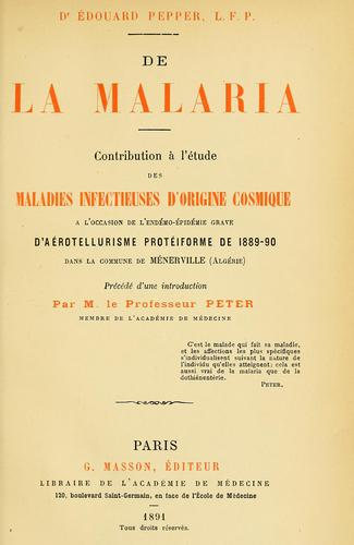 De la malaria by Édouard Pepper