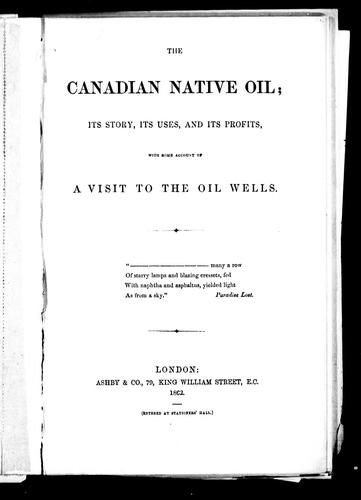 The Canadian native oil by