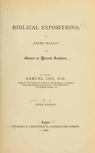 Biblical expositions by Samuel Cox