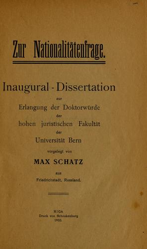 Zur Nationalitatenfrage by Max Schatz