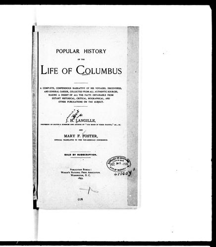 Popular history of the life of Columbus by J. H. Langille