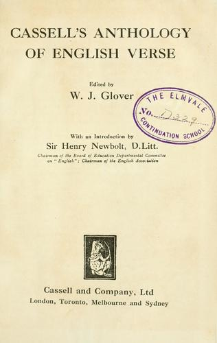 Cassell's Anthology of English Verse by W.J Glover