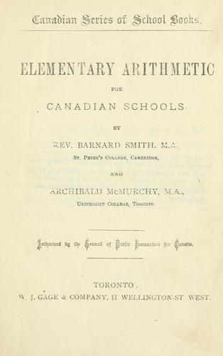 Elementary Arithmetic for Canadian Schools by Rev. Barnard Smith