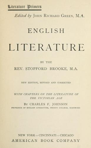 English literature by Brooke, Stopford Augustus