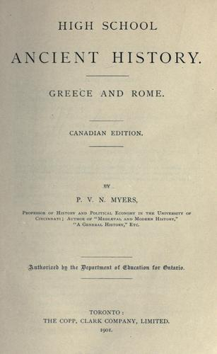 High School Ancient History: Greece and Rome by P. V. N. Myers