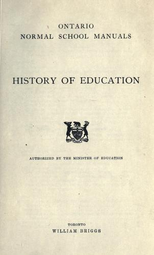 History of education / authorized by the Minister of Education by