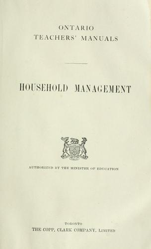 Household management / authorized by the minister of education by Ont. department of education