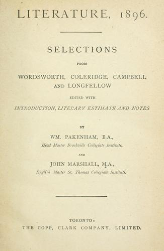 Literature, 1896 by Marshall, John