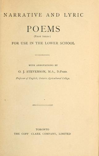 Narrative and lyric poems by O. J. Stevenson