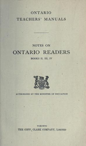 Notes on ontario readers books II, II, IV / authorized by the Minister of Education by