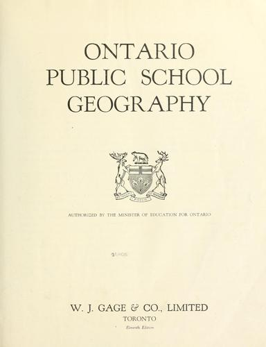 Ontario public school geography by Ontario. Dept. of Education
