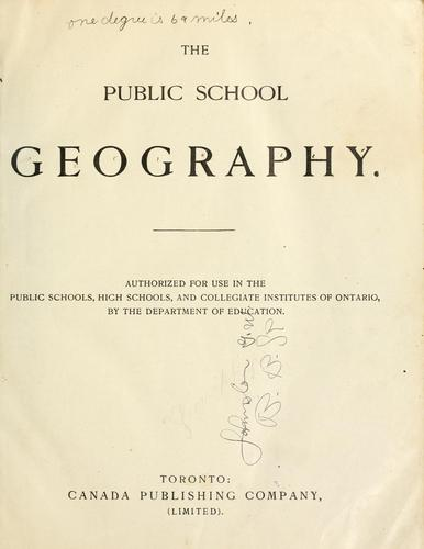 The public school geography by Ontario. Dept. of Education