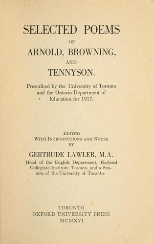 Selected poems of Arnold, Browning and Tennyson by Matthew Arnold