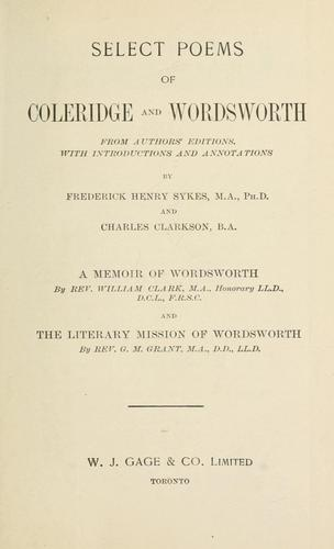 Select poems of Coleridge and Wordsworth by Samuel Taylor Coleridge