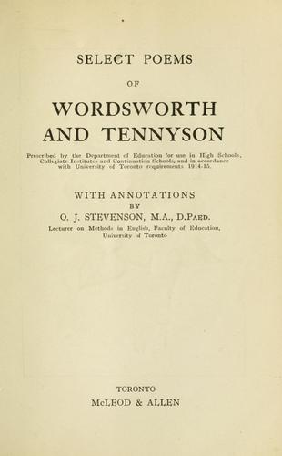 Select poems of Wordsworth and Tennyson by William Wordsworth
