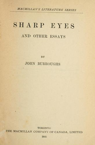 Sharp eyes by John Burroughs