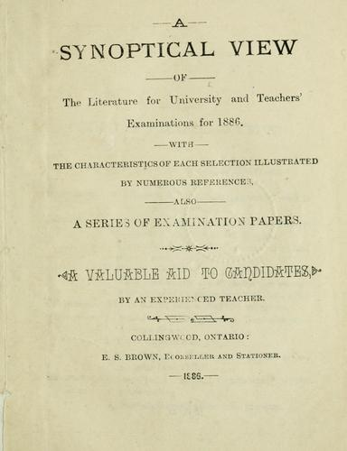 A synoptical view of the literature for 1886 by