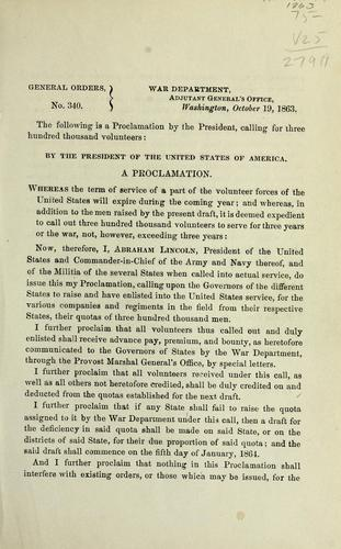 A proclamation by Abraham Lincoln