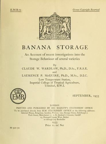 Banana storage by C. W. Wardlaw