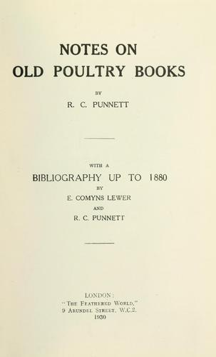 Notes on old poultry books by Reginald Crundall Punnett