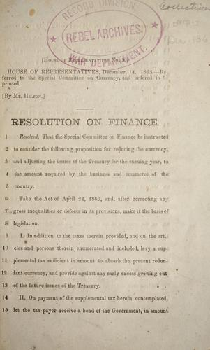 Resolution on finance by Confederate States of America