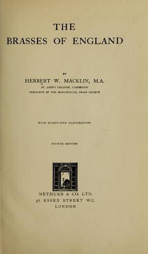 The brasses of England by Herbert Walter Macklin