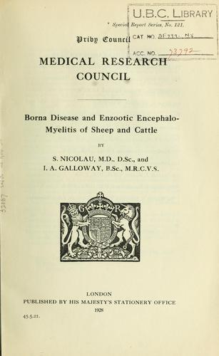 Borna disease and enzootic encephalo-myelitis of sheep and cattle by Stefan Nicolau