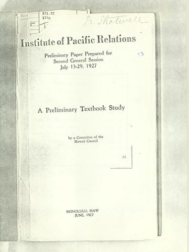 A preliminary textbook study by Institute of Pacific Relations. Conference