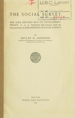 The social survey by Harrison, Shelby M.