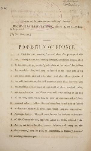 Proposition on finance by Confederate States of America. Congress. House of Representatives