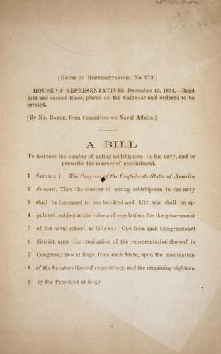 A bill to increase the number of acting midshipmen in the Navy, and to prescribe the manner of appointment by Confederate States of America. Congress. House of Representatives
