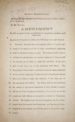 Amendment to bill to authorize the consolidation of companies, battalions and regiments by Confederate States of America