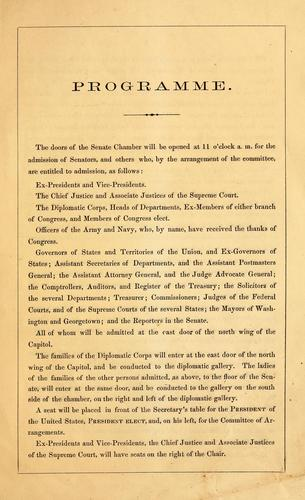 Arrangements for the inauguration of the President of the United States, on the fourth of March, 1865 by Inaugural Committee (U.S. : 1965)