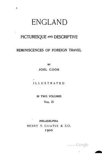 England, Picturesque and Descriptive: Reminiscences of Foreign Travel by Joel Cook