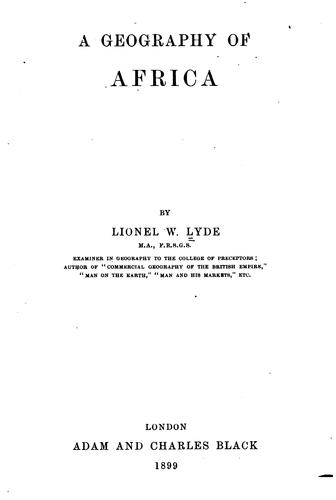 A Geography of Africa by Lionel William Lyde