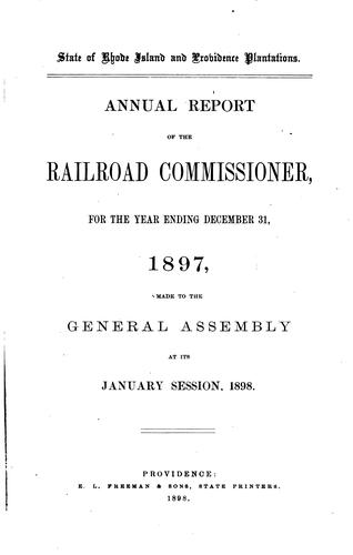 Report by Rhode Island , Railroad Commissioners, Rhode Island Railroad Commissioner