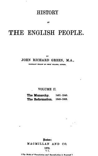 History of the English People by John Richard Green