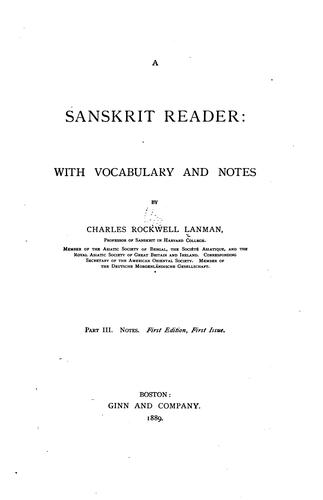 A Sanskrit reader: with vocabulary and notes by Charles Rockwell Lanman